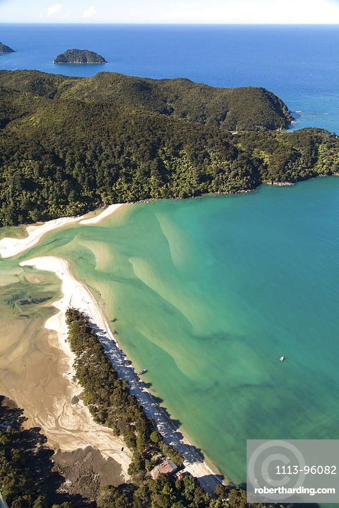 Aerial view of the Awaroa Inlet, turquoise colour of the sea, Abel Tasman National Park, Tasman District, South Island, New Zealand