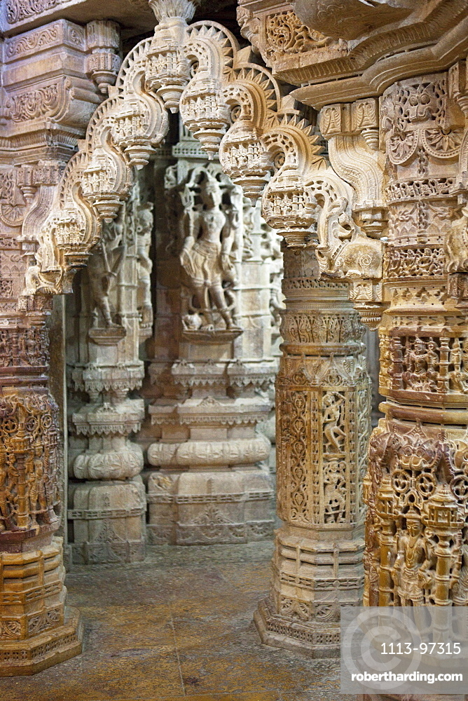 Stone carved pillars at the jainist temple of Jaisalmer Fort, Jaisalmer, Rajasthan, India