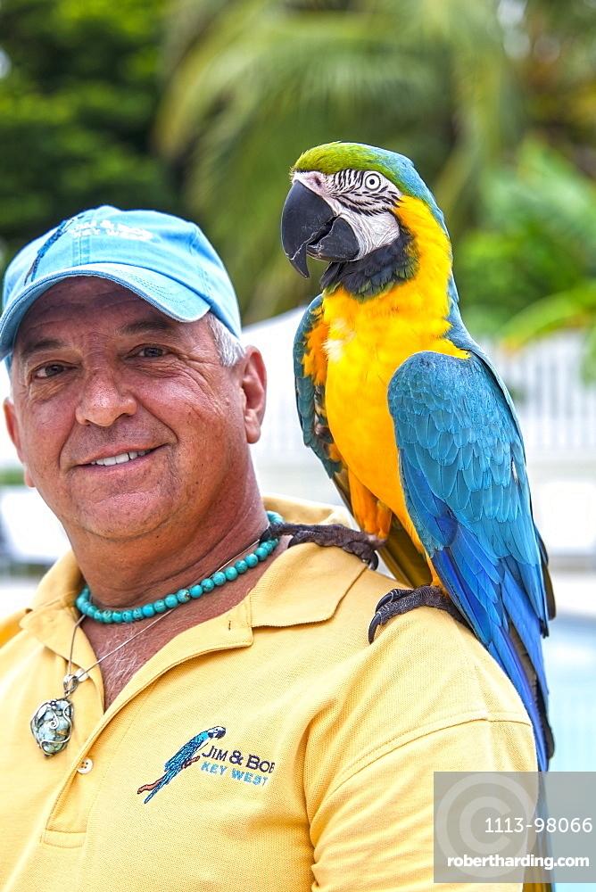 Local bird entertainer Jim with his parrot Bob, Key West, Florida Keys, Florida, USA