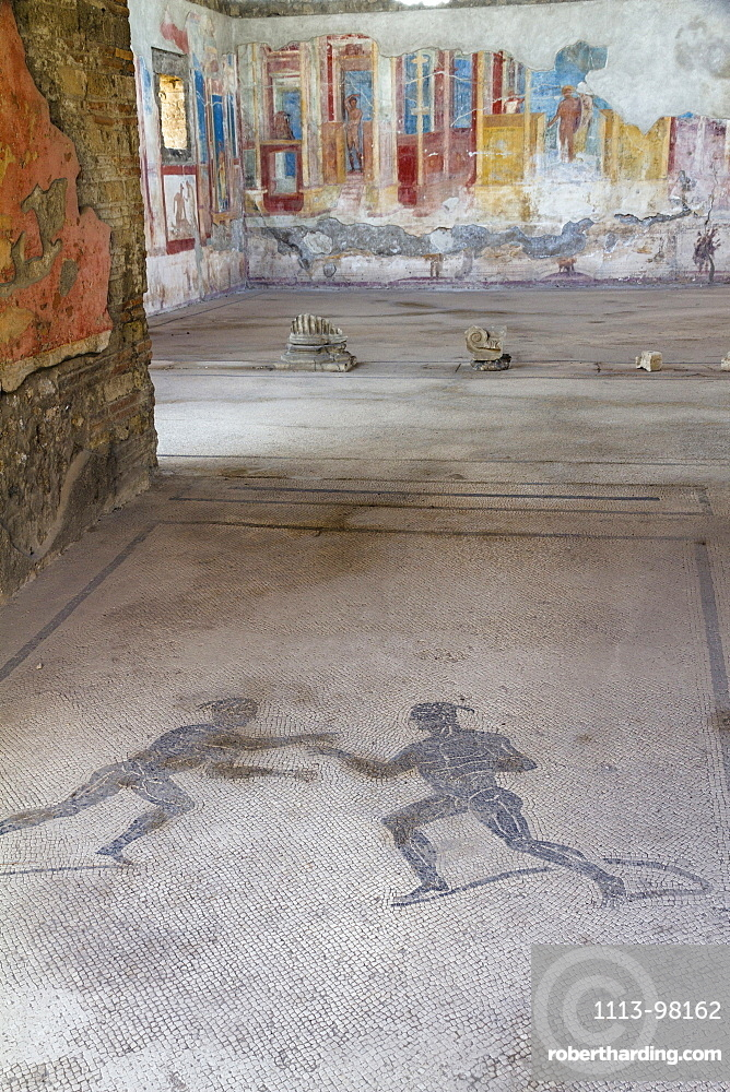 Mosaic of two athletes in the entrance corridor at house VII.2.23, historic town of Pompeii in the Gulf of Naples, Campania, Italy, Europe
