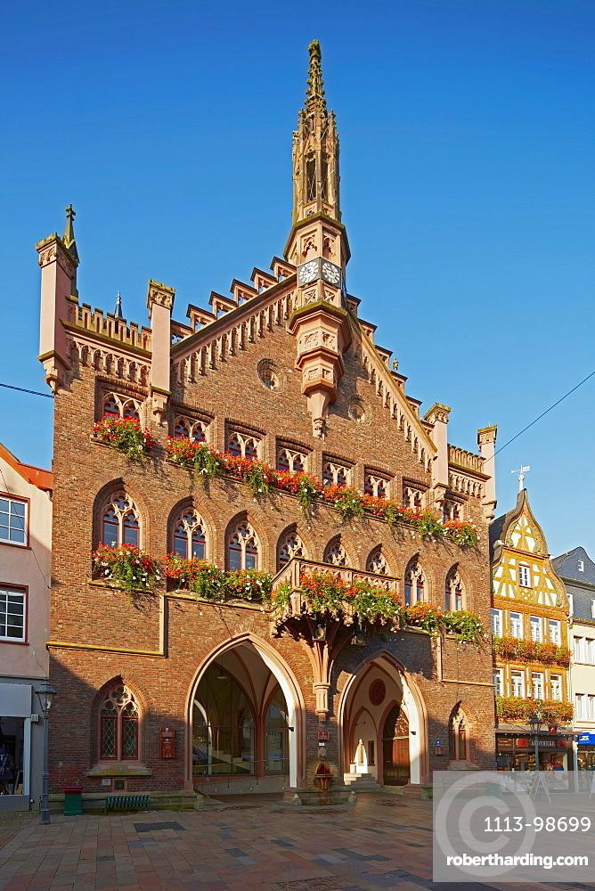 Neogothic town hall in the old town of Montabaur, Grosser Markt, Montabaur, Westerwald, Rhineland-Palatinate, Germany, Europe