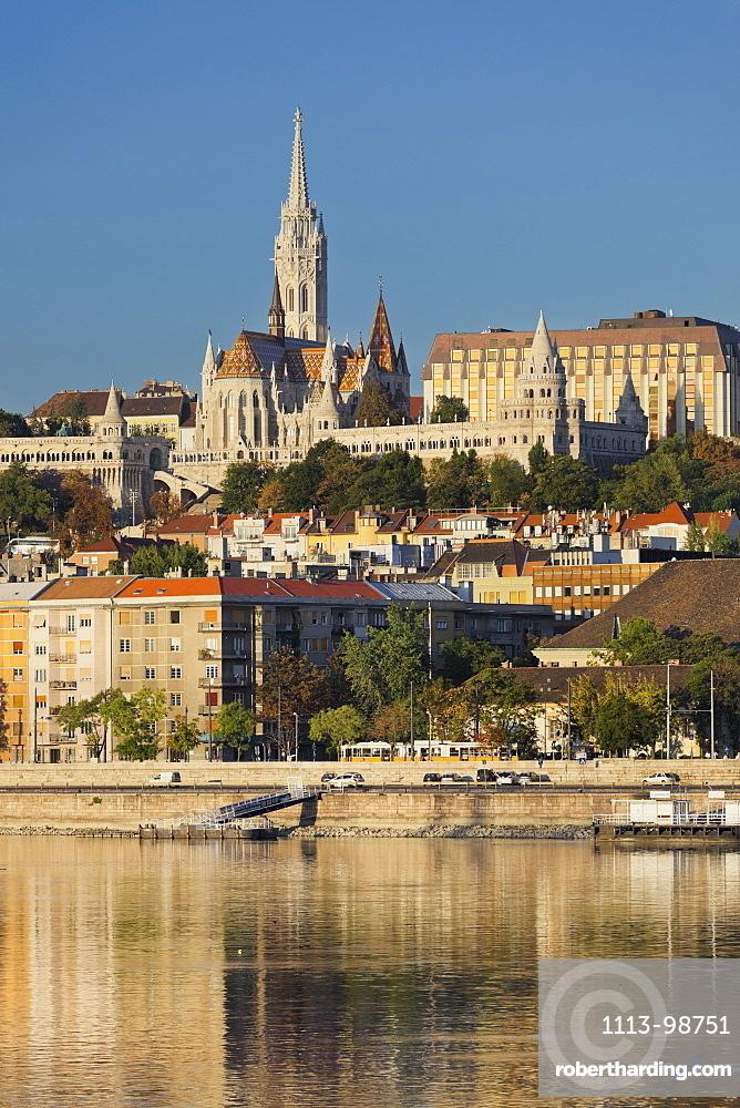 Matthias Church with the Fishermans Bastion, Danube, Budapest, Hungary
