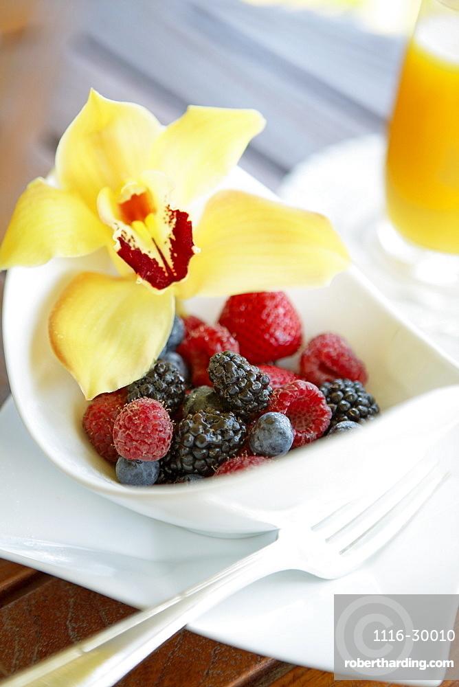 Hawaii, Maui, Balcony, Breakfast fresh Fruit Bowl with Orchid garnish.
