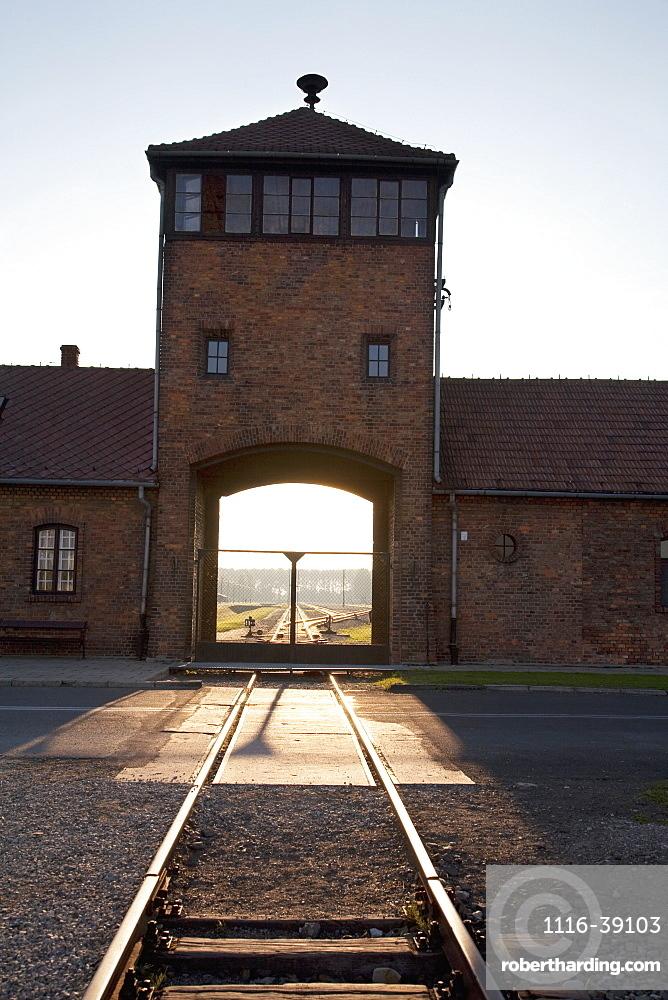 Main Guard House (Gate Of Death) At Sunset, Auschwitz-Birkenau Concentration Camp, Oswiecim, Malopolska, Poland