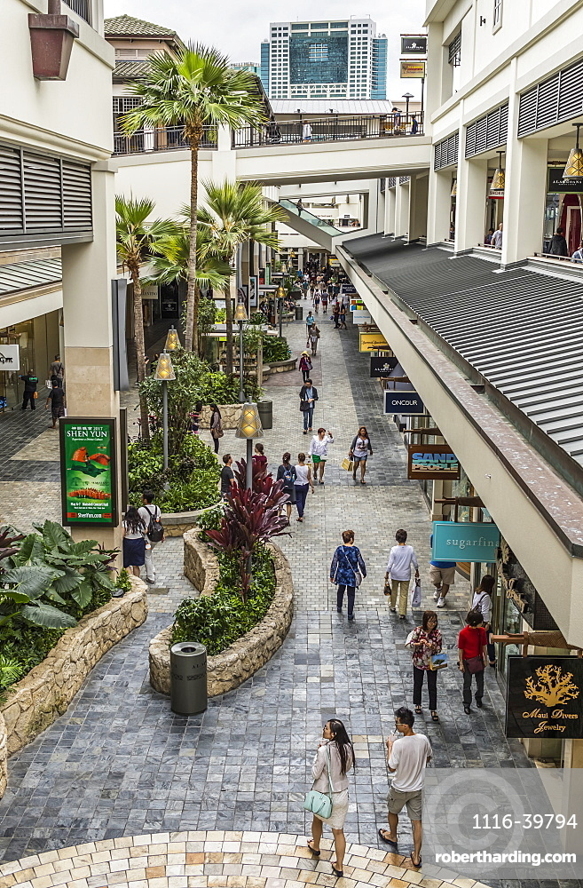View within the Ala Moana Shopping Center, an open air shopping area depicting its multi-leveled and tropic nature, Waikiki, Honolulu, Oahu, Hawaii, United States of America