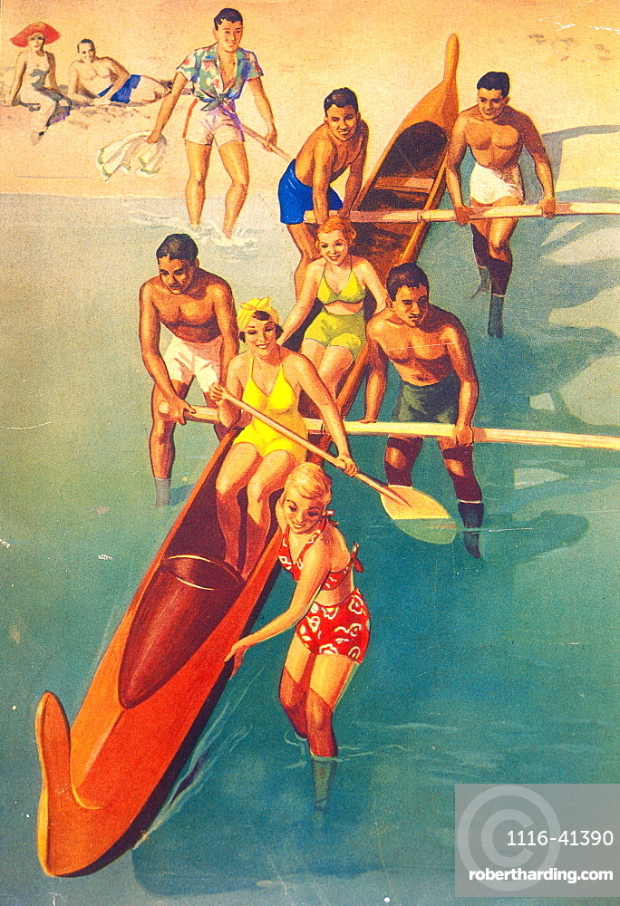 C.1935 Tourist Advertising: Tourist Women In Canoe With Local Men Pushing Off B1427