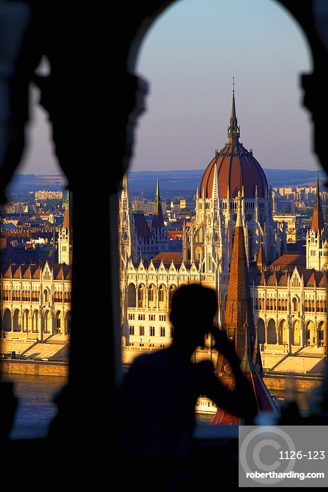 Restaurant at Fisherman's Bastion overlooking the city, Budapest, Hungary, Europe