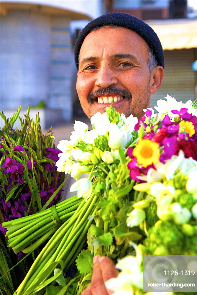 Flower seller, Tangier, Morocco, North Africa, Africa
