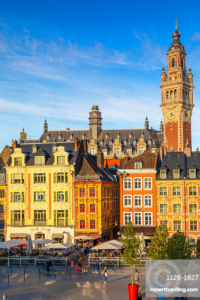 The Grand Place and Lille Chamber of Commerce Belfry, Lille, France,