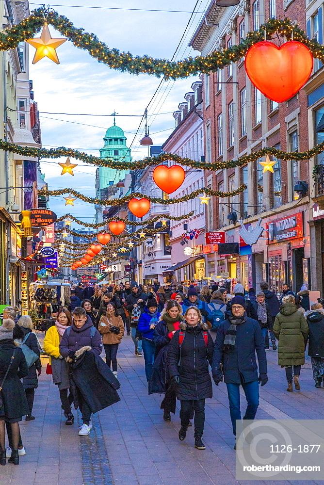 Stroget Street at Christmas, Copenhagen, Denmark, Scandinavia, Europe