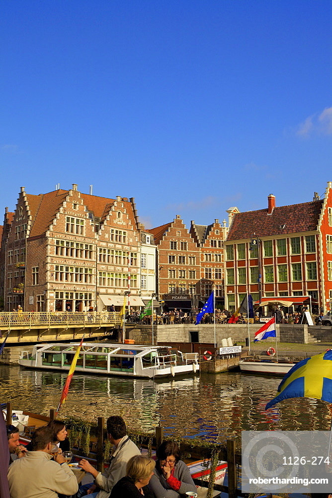 Graslei Harbour Guildhouses, Ghent, Belgium, Europe