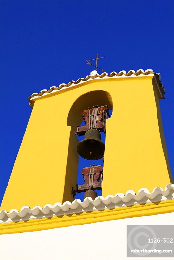Church and Belfry, Santa Gertrudis, Ibiza, Balearic Islands, Spain, Europe