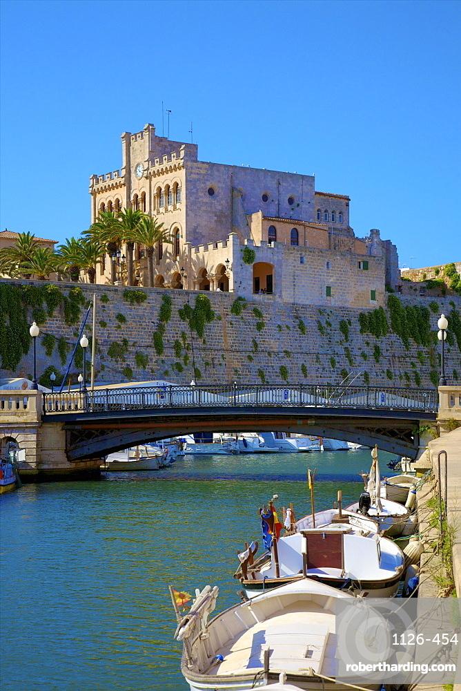 Town Hall and Harbour, Ciutadella, Menorca, Balearic Islands, Spain, Mediterranean, Europe