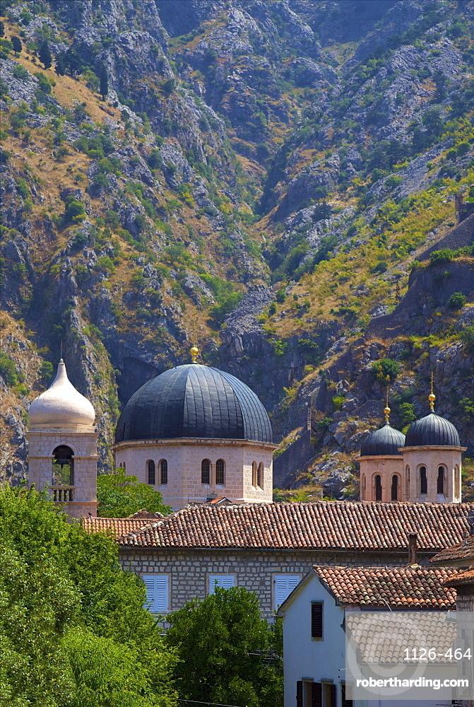 Domes of Church of St. Nicholas, Kotor, UNESCO World Heritage Site, Montenegro, Europe