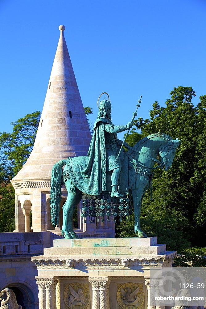 St. Istvan statue, Fisherman's Bastion, Budapest, Hungary, Europe