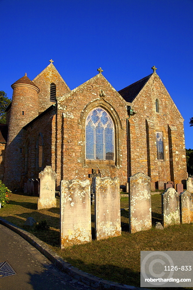St. Brelade's Church and Fisherman's Chapel, St. Brelade's Bay, Jersey, Channel Islands, Europe