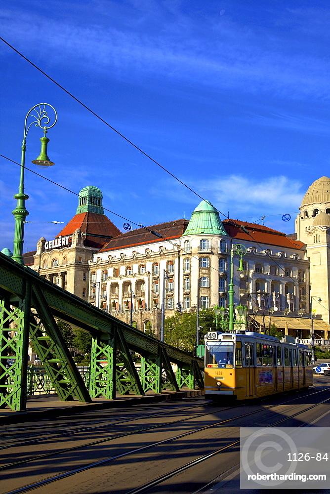 Gellert Hotel and Spa, Liberty  Bridge and tram, Budapest, Hungary, Europe