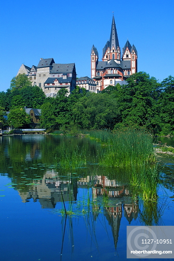 Cathedral and castle at the river Lahn, Limbourg, Hessen, Germany