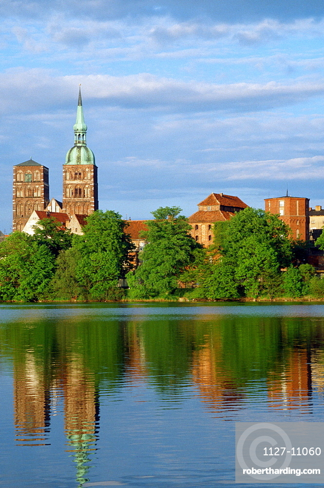 View over lake to Nikolai church and old part of Stralsund, Mecklenburg-Western Pommerania, Germany