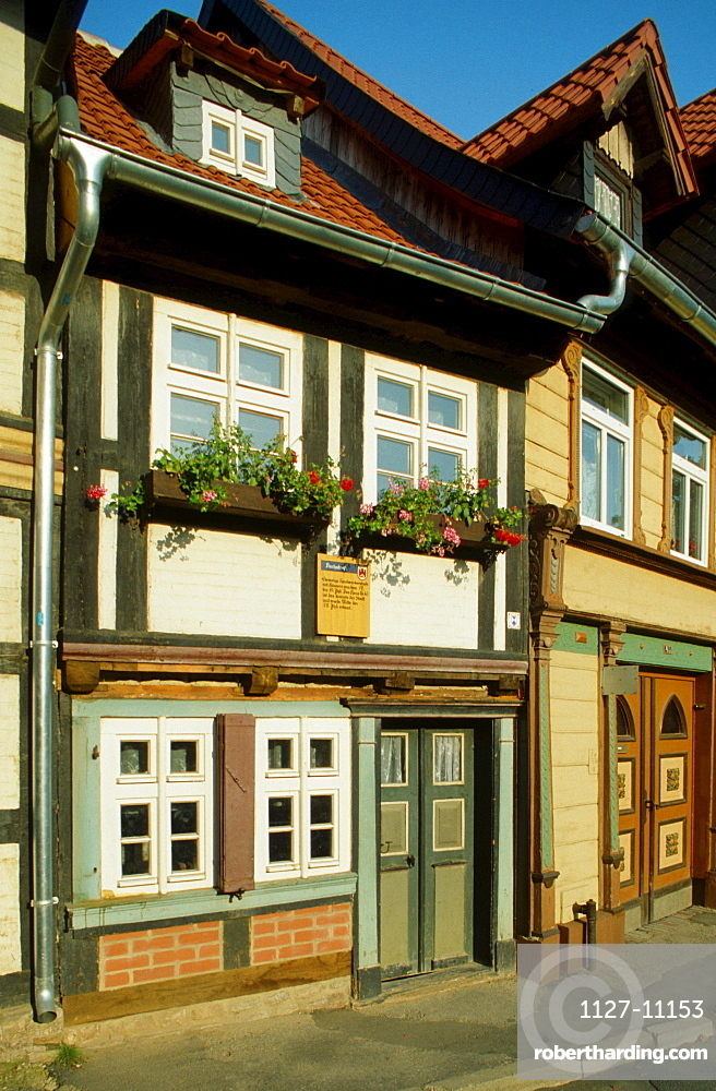 Timber-framed house, smallest house in Wernigerode, Saxony-Anhalt, Germany