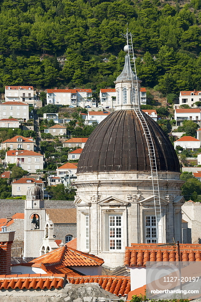 Cathedral, View from the city wall across historic town, old town, Dubrovnik, Dalmatia, Croatia / Assumption Cathedral