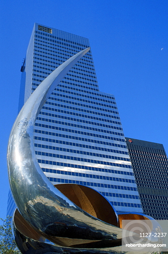 Sculpture and tower block, Los Angeles, California, USA