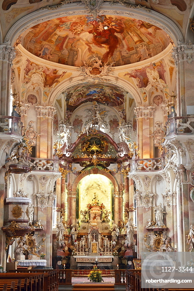 Interior of monastery church St. Maria, Birnau, Lake Constance, Baden-Wurttemberg, Germany / pilgrimage church
