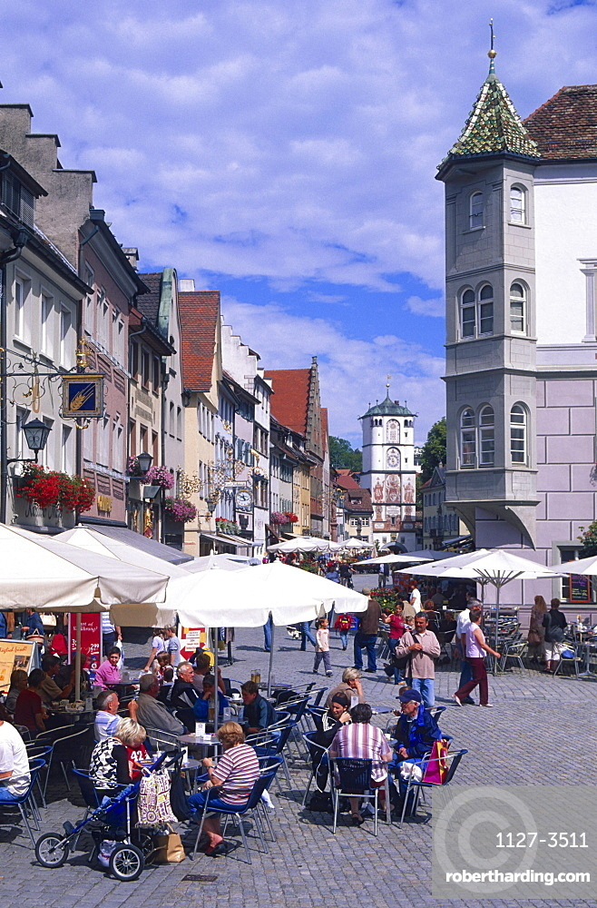 Guests in pavement cafe at market place, Wangen, Allgau, Baden-Wurttemberg, Germany