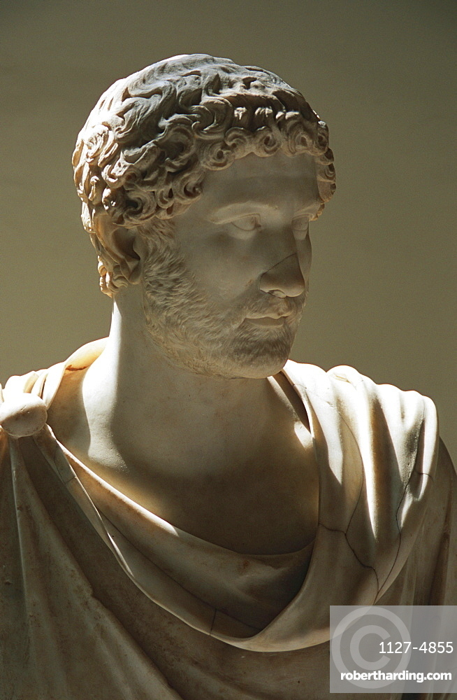 Sculpture 'Adriano', archaeological national museum, Naples, Campania, Italy