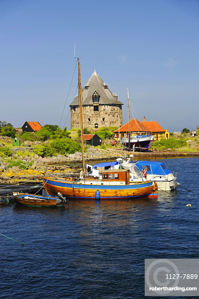 Small Tower and boats, harbour, Frederikso Island, Denmark