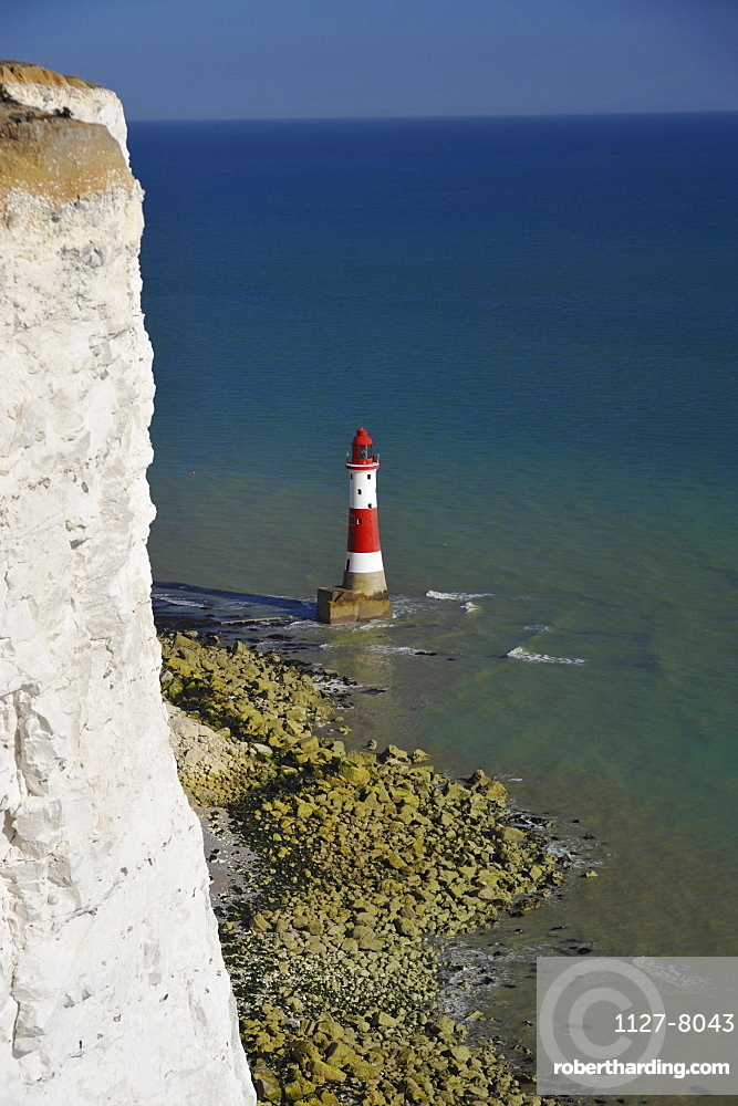 Chalk cliff coast and Lighthouse, Beachy Head, Eastbourne, East Sussex, England