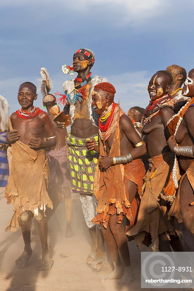 Karo people, tribal dance ceremony, Omo river Valley, Southern Ethiopia