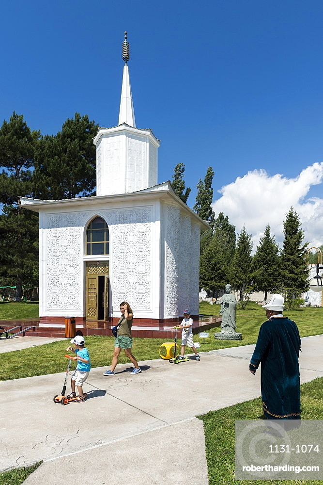 Chapel and Gautama Buddha, Cultural Center Ruh Ordo named after Chinghiz Aitmatov, Issyk Kul Lake, Cholpon-Ata, Kyrgyzstan, Central Asia, Asia
