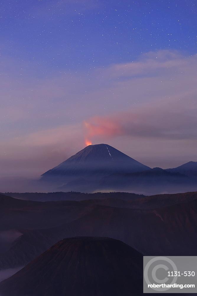 Active Gunung Bromo volcano at night, Bromo-Tengger-Semeru National Park, Java, Indonesia, Southeast Asia, Asia