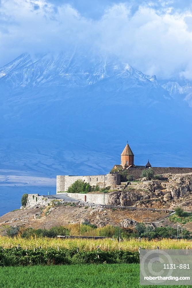 Khor Virap Monastery and Apostolic church at the foot of Mount Ararat, Ararat Province, Armenia, Caucasus, Asia