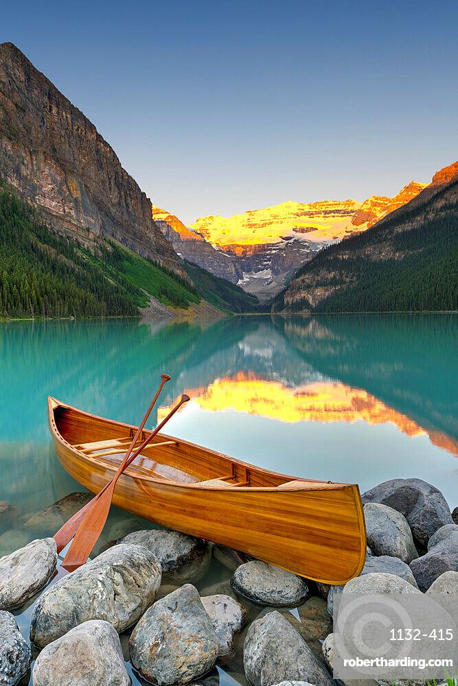 Cedar-Strip Canoe at Lake Louise, Banff National Park, Alberta, Canada