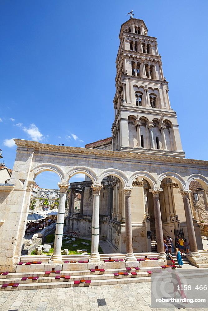 St. Domnius Cathedral Bell Tower and Peristyle, Stari Grad (Old Town), Split, Dalmatia, Croatia, Europe