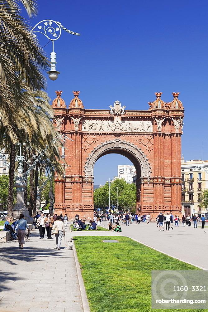 Arc de Triomf, by architect Josep Vilaseca i Casanovas, Barcelona, Catalonia, Spain, Europe