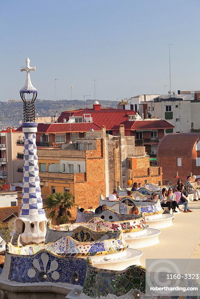 Parc Guell, UNESCO World Heritage Site, Modernisme, architect Antoni Gaudi, Barcelona, Catalonia, Spain, Europe