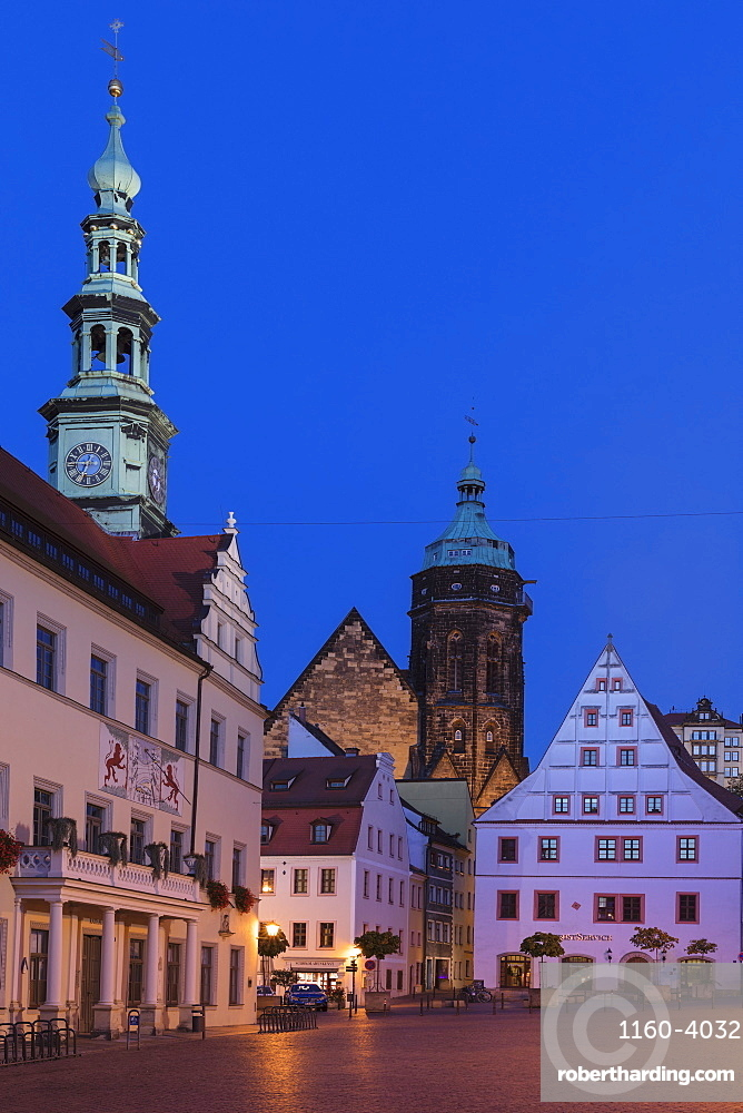 Town hall, Canaletto Building and St.Marien parish church at the market place, Pirna, Saxony Switzerland, Saxony, Germany, Europe