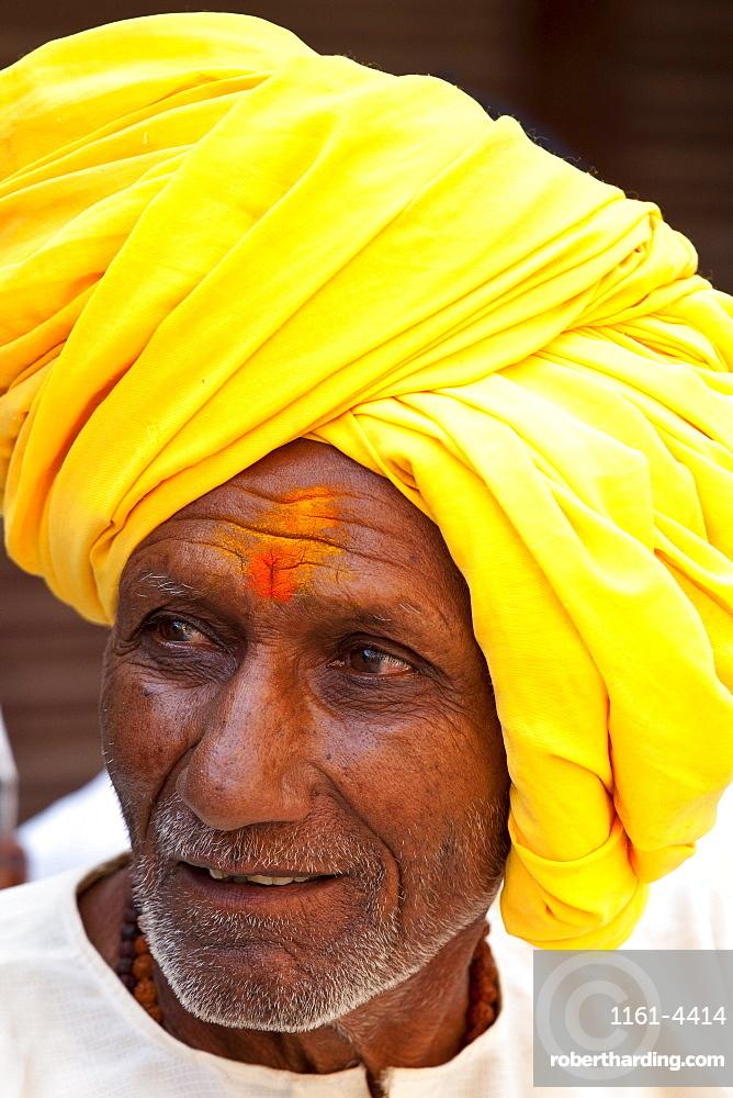 Indian Hindu man in the city of Varanasi, Benares, Northern India