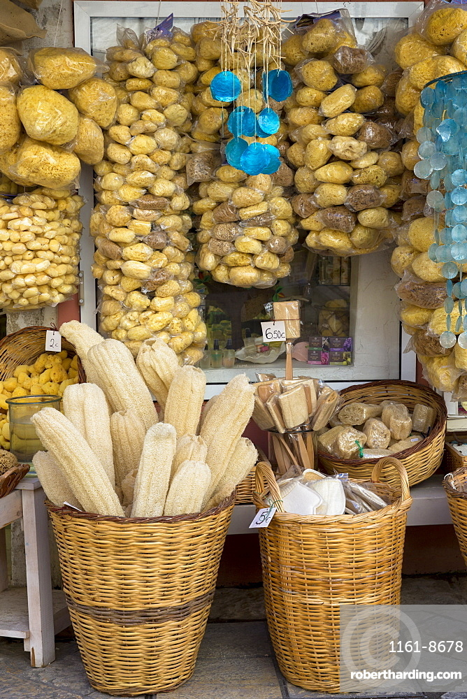 Gifts and souvenir shop selling natural sea sponge products and loofahs in Kerkyra, Corfu Town, Corfu, Greek Islands, Greece, Europe