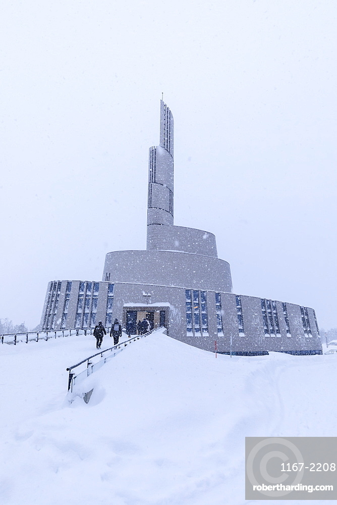 Northern Lights Cathedral, striking architecture, snow in winter, Alta, Altafjord, Finnmark, Arctic Circle, North Norway, Scandinavia, Europe