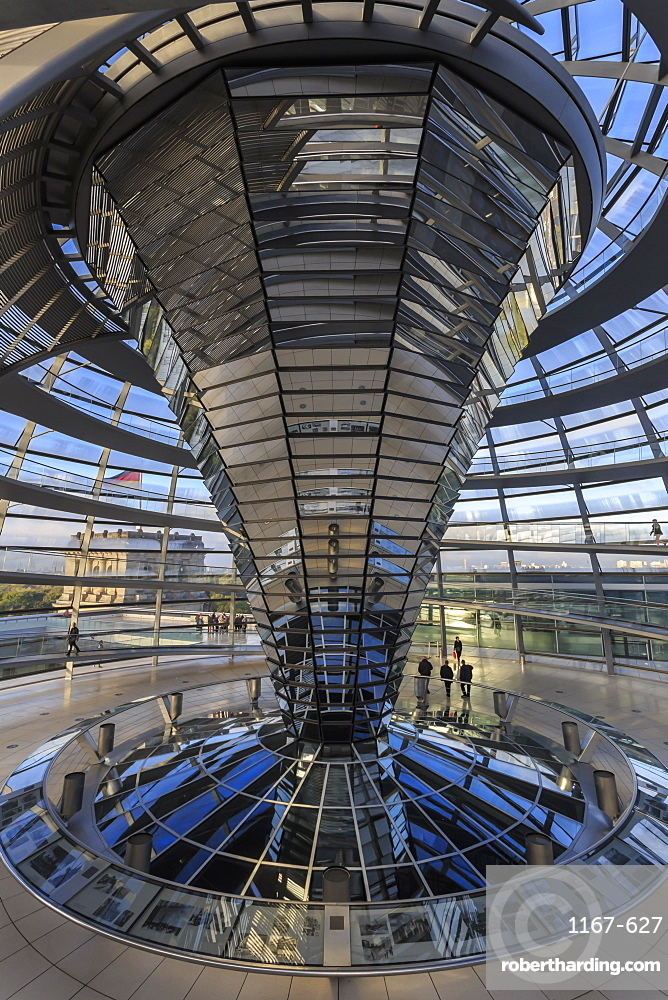 First visitors of the day viewed from the dome interior, Reichstag, early morning, Mitte, Berlin, Germany, Europe