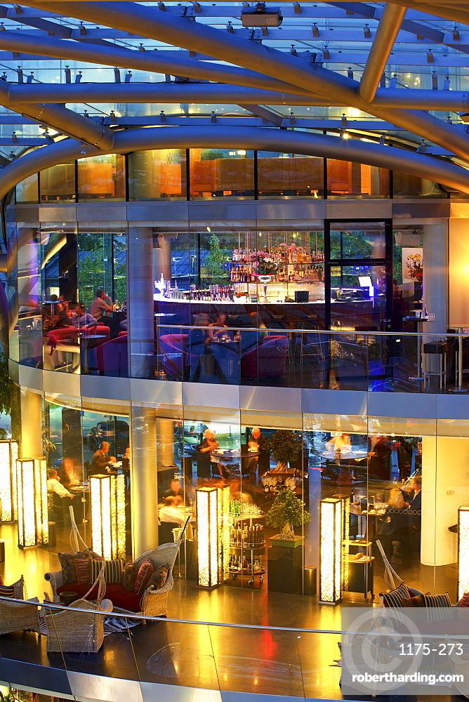 People dinning at Ikarus Restaurant in Hangar-7, Salzburg, Austria