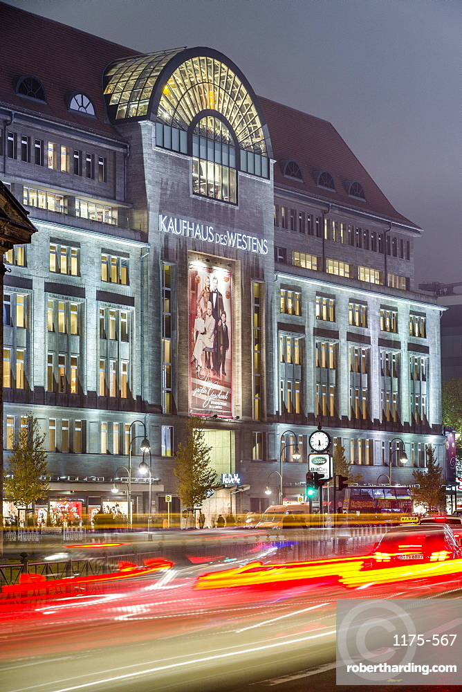 View of Kaufhaus des Westens and traffic at night, Wittenbergplatz, Berlin, Germany