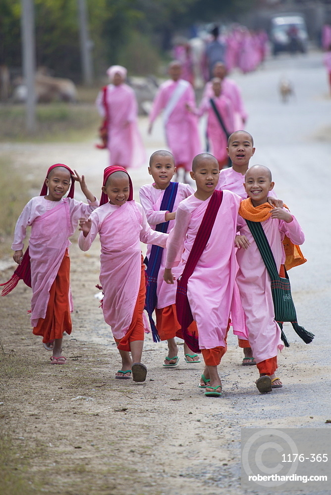 Buddhist nuns in traditional robes, Mandalay, Myanmar, Southeast Asia