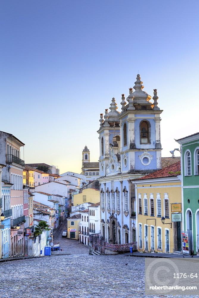 Pelourinho in city centre with Our Lady of the Roasary of Black People (Nossa Senhora do Rosario dos Pretos), UNESCO World Heritage Site, Salvador de Bahia, Bahia, Brazil, South America