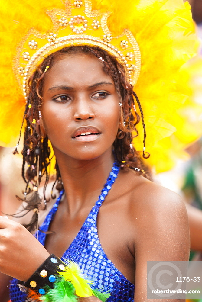 Local woman dressed up for the Maracatu parades at Carnival, Nazare da Mata, Pernambuco, Brazil, South America