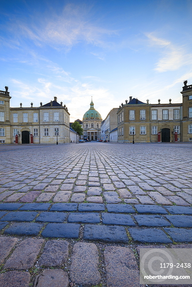 View of Amalienborg Palace towards Marble Church from Palace Square, Copenhagen, Denmark, Europe